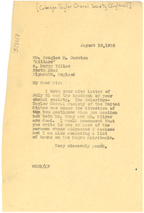Letter from W. E. B. Du Bois to The Samuel Coleridge-Taylor Choral Society
