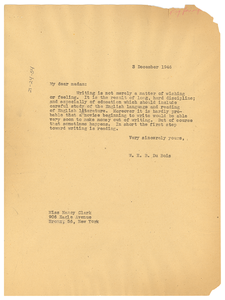 Letter from W. E. B. Du Bois to Nancy Clark