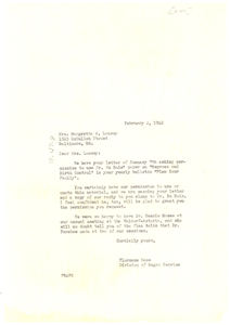 Letter from Florence Rose to Margretta A. Lansey