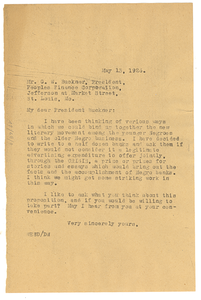 Letter from W. E. B. Du Bois to Peoples Finance Corporation