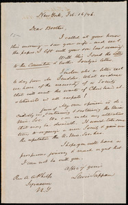 Letter from Lewis Tappan, New York, to Amos Augustus Phelps, 1846 February 16