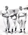 Milt Smith and Bob Turman of the Cincinnati Reds with unidentified youth