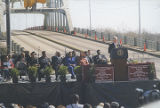 Bill Clinton speaking in front of the Edmund Pettus Bridge in Selma, Alabama, during the Bridge Crossing Jubilee.