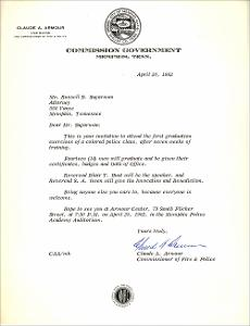 Letter from Claude A. Armour, Commissioner of Fire & Police to Mr. Russell B. Sugarmon, Jr., Attorney