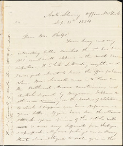 Letter from Elizur Wright, New York, to Amos Augustus Phelps, 1834 Sept[ember] 13