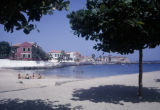 Senegal, beach on Gorée Island with colonial architecture