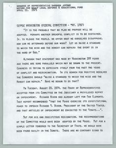 Remarks of Representative Barbara Jordan before the NAACP Legal Defense and Educational Fund April 11, 1975 Texas Senate Papers