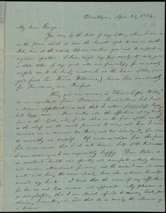 Thumbnail for Letter from William Lloyd Garrison, Brooklyn, [Conn.], to George William Benson, April 23, 1834