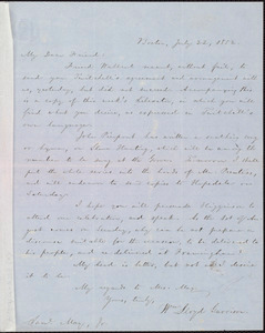 Letter from William Lloyd Garrison, Boston, [Mass.], to Samuel May, July 22, 1852