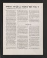 "National Board Files. Reports and Articles: """"What People Think of the Y,"""" by George Gallup, 1956. (Box 2, Folder 20)"