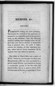A Black Colonizationist, Memoir of Captain Paul Cuffee, A Man of Colour: To Which is Subjoined The Epistle of the Society of Sierra Leone in African & etc.