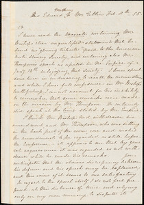 Letter from Edward Matthews, to Mary Anne Estlin, 1855 Feb[ruary] 8th