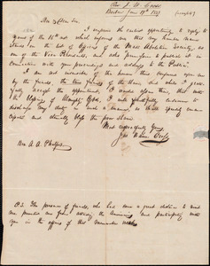 Letter from Joseph Warren Cross, Boxboro, to Amos Augustus Phelps, June 19th 1839