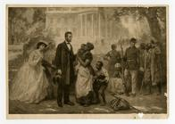 Abraham Lincoln with freed slaves