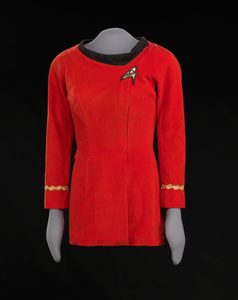 Red Starfleet uniform worn by Nichelle Nichols as Lt. Uhura on Star Trek