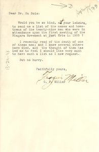 Letter from George Frazier Miller to W. E. B. Du Bois