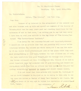 Letter from Isaac Roberts to W. E. B. Du Bois