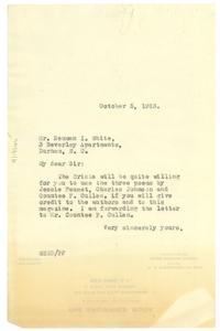 Letter from W. E. B. Du Bois to Neuman I. White