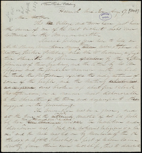 Thumbnail for Letter from Parker Pillsbury, Harwich, [Mass.], to William Lloyd Garrison, Aug[ust] 27 [1848]
