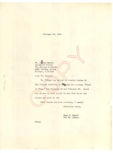 Letter from Hugh H. Smythe to Chicago Defender