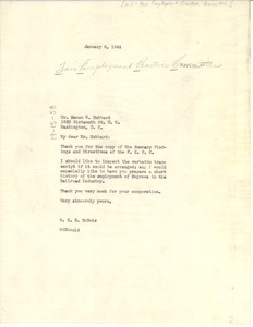 Letter from W. E. B. Du Bois to United States Fair Employment Practice Committee