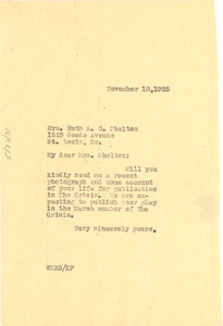 Letter from W. E. B. Du Bois to Ruth A. G. Shelton