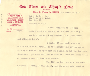 Letter from New Times and Ethiopia News to W. E. B. Du Bois