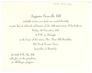 Invitation from Augustus Granville Dill to W. E. B. Du Bois