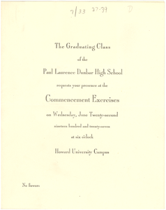 Invitation to Paul Laurence Dunbar High School commencement