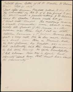 Extract of a letter from Anne Warren Weston to Deborah Weston, Feb. 21, 1839
