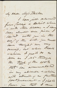 Letter from James Miller M'Kim, [New York?], to Miss Weston, [15 Feb. 186?]