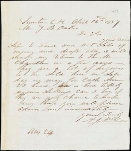 A. J. McElveen, Sumter Court House, S.C., autograph letter signed to Ziba B. Oakes, 22 April 1857
