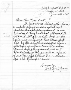 Letter from Andrew S. Evans to President Harry S. Truman