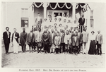 Closing day, 1912. Rev Dr. Baird at left on the porch