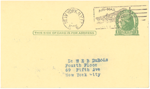 Postcard from James Weldon Johnson to W. E. B. Du Bois