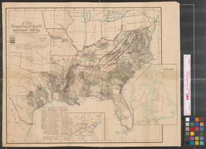 Map showing the distribution of slaves in the Southern States.