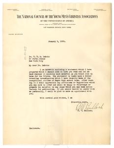 Letter from R. W. Bullock to W. E. B. Du Bois