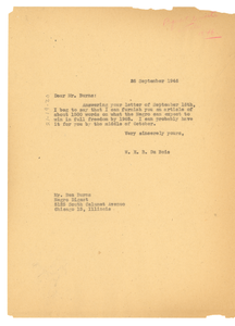 Letter from W. E. B. Du Bois to Negro Digest
