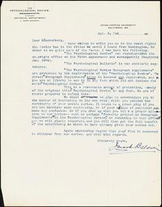 Baldwin, James Mark, 1861-1934 typed letter signed to Hugo Münsterberg, Baltimore, 03 April 1906