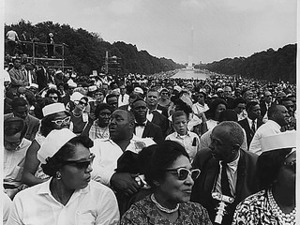 Civil Rights March on Washington, D.C. [Crowd of marchs at the Lincoln Memorial.], 08/28/1963