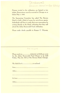 American Council on Race Relations dinner ticket order form and return envelope
