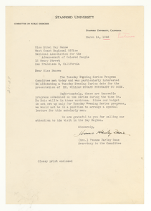Letter from Stanford University to Ethel Ray Nance