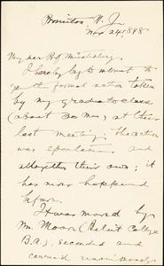 Baldwin, James Mark, 1861-1934 autograph letter signed to Hugo Münsterberg, Princeton, N.J., 24 November 1898