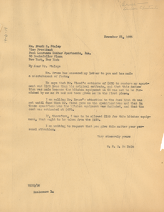 Letter from W. E. B. Du Bois to Dunbar Apartments