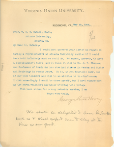 Letter from Virginia Union University to W. E. B. Du Bois