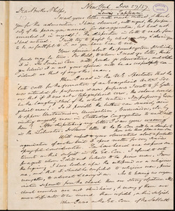 Letter from Lewis Tappan, New York, to Amos Augustus Phelps, Dec 27 / 37