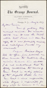 Letter from Oliver Johnson, Orange, N.J., to William Lloyd Garrison, May 4, 1877