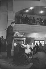 Martin Luther King, Jr., speaking to a crowd at Tabernacle Baptist Church in Selma, Alabama.