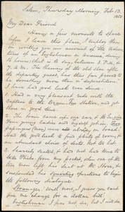 Letter from George Thompson, Salem, [Mass.], to Anne Warren Weston, Thursday Morning, Feb. 13, 1850