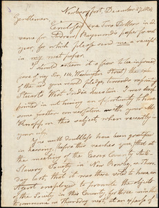 Letter from Charles Whipple, Newburyport, [Massachusetts], to William Lloyd Garrison and Isaac Knapp, 1834 December 27